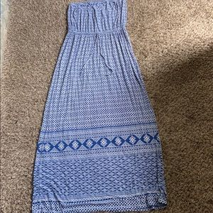 Blue old navy strapless maxi dress